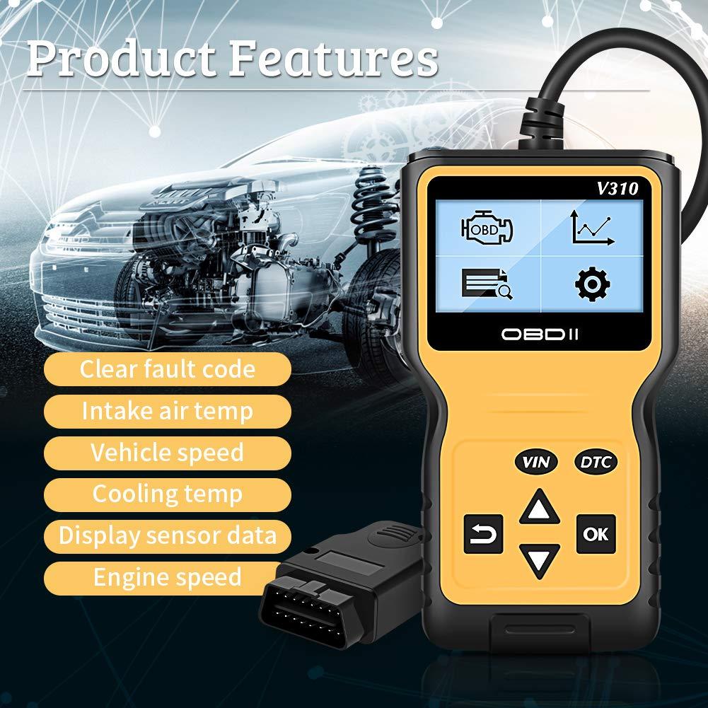VXDAS OBD2 Scanner, V310 Enhanced OBD II Auto Code Reader Check Engine  Light CAN Car Diagnostic Scan Tool Display Vehicle RealTime Curve