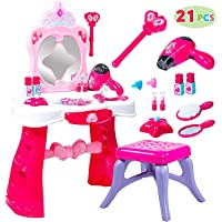 Toddler Fantasy Vanity Beauty Dresser Table Play set with Lights, Sounds, Chair, Fashion & Makeup Accessories for Kid…
