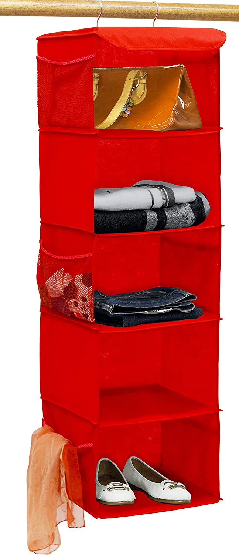 Simple Houseware 5 Shelves Hanging Closet Organizer, Red