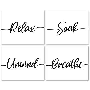 Relax, Soak, Unwind, Breathe Black & White Bath Poster Prints, Set of 4 (8x10) Unframed Photos, Wall Art Decor Gifts Under 20 for Home, Office, Salon, College Student, Teacher, Yoga Fan