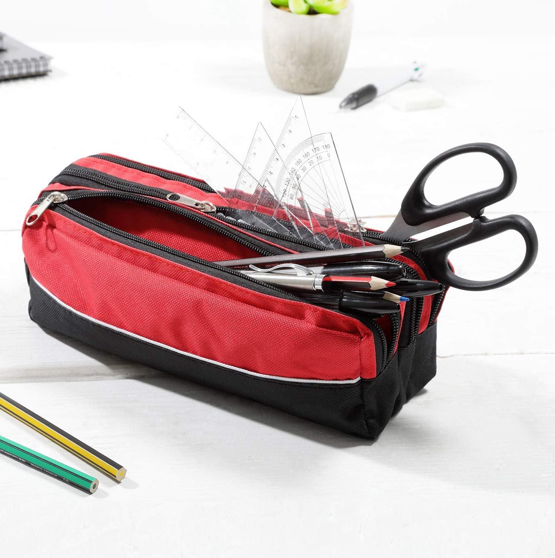 Arpan Grande trousse rectangulaire 3/poches zipp/ées en tissu rouge pour la classe ou le maquillage