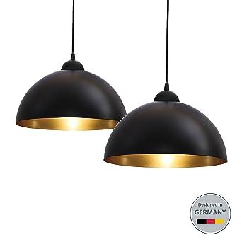 BKLicht Design 2x Industrielle Vintage LED Pendelleuchte Hngeleuchte 30cm Fr E27 Leuchtmittel Schwarz