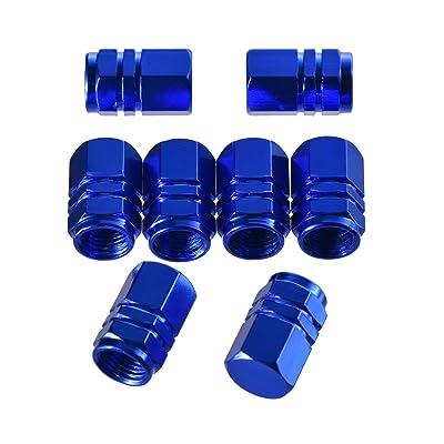 eBoot 8 Pieces Tire Stem Valve Caps Wheel Valve Covers Car Dustproof Tire Cap, Hexagon Shape (Blue): Automotive