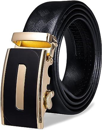 Men/'s Luxury Cowskin Leather Belt Automatic Buckle Belt Ratchet Strap Gift Suit