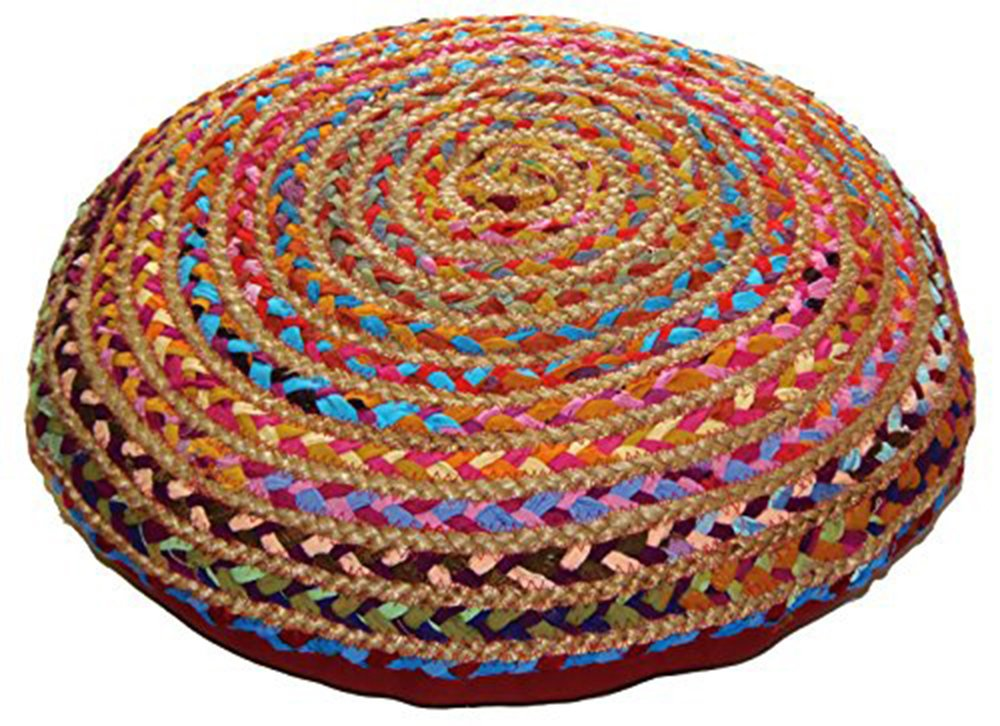 Cotton Craft - Jute & Cotton Multi Chindi Braid Floor Pillow - Handwoven from Multi-color Vibrant Fabric Rags (24'' Round) by Cotton Craft