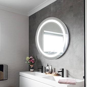 ELINKUME Badspiegel Wandspiegel Beleuchtung Spiegelleuchte Lichtspiegel -  LED 25W Wand montiert Spiegel Licht LED Dimmfunktion Touch Schalter, ...