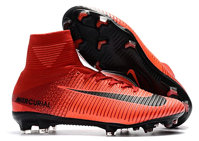 46279b3eede7 Men s High Ankle Soccer Cleats Nike Mercurial Superfly V FG Red (8 ...