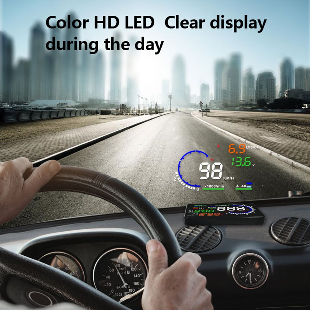 Kuke 5.5 Inches A8 HUD Head Up Display with Driving Speed, KM/h MPH, Water Temperature, Battery Voltage And Speeding Warning, OLED screen with OBD2 Interface JYPC YAKE-SN-C007-K