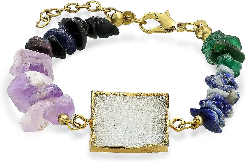 Bling Jewelry Boho Ágata Verde Azul Violeta Orgánica Multi Chip Piedras Chakra Druzy Pulsera De Moda para Adolescentes Mujer Tono Oro