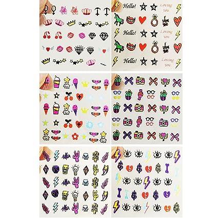 EVTECH (TM) 6 piezas Nail Tatuajes de dibujos animados Diseño ...
