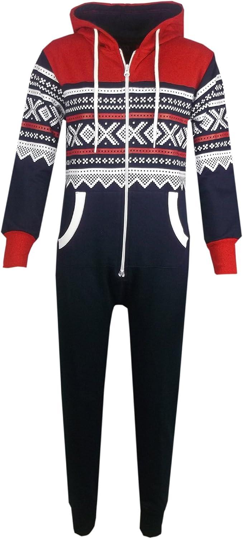 Kids Girls Boys Aztec Snowflake Print Hooded Onesie All in One Jumpsuit Age 5-13/…