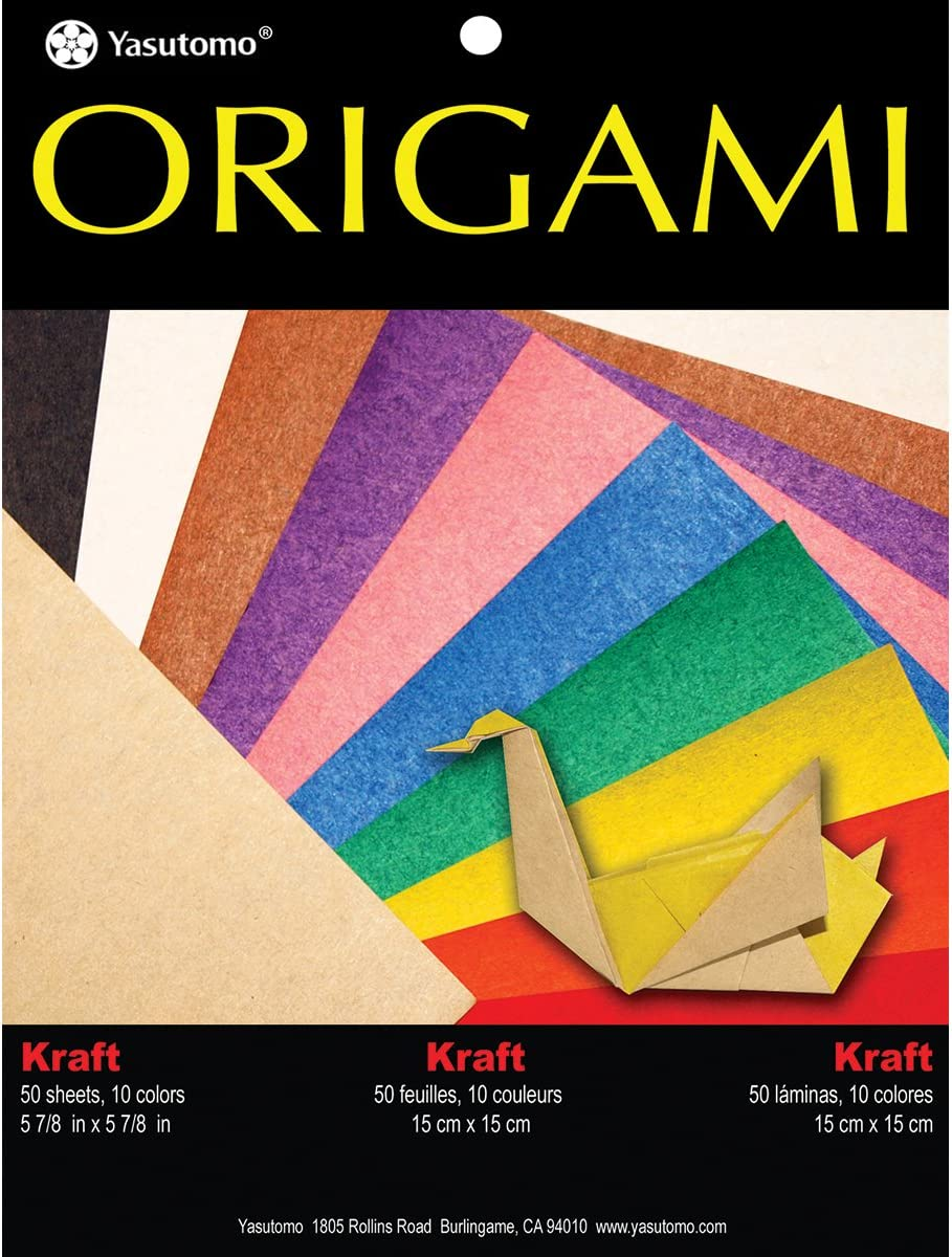 50 Pack Yasutomo Fold EMS Solid Origami Paper 5.875 Kraft with Assorted Colors
