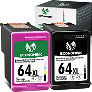 Economink Remanufactured Ink Cartridge Replacement for HP 64 64XL 64 XL Black Color Combo Pack for Envy Photo 7855 6222 7155 7858 6255 7800 6252 7158 7164 7120 7130 Tango X Smart Home Wireless