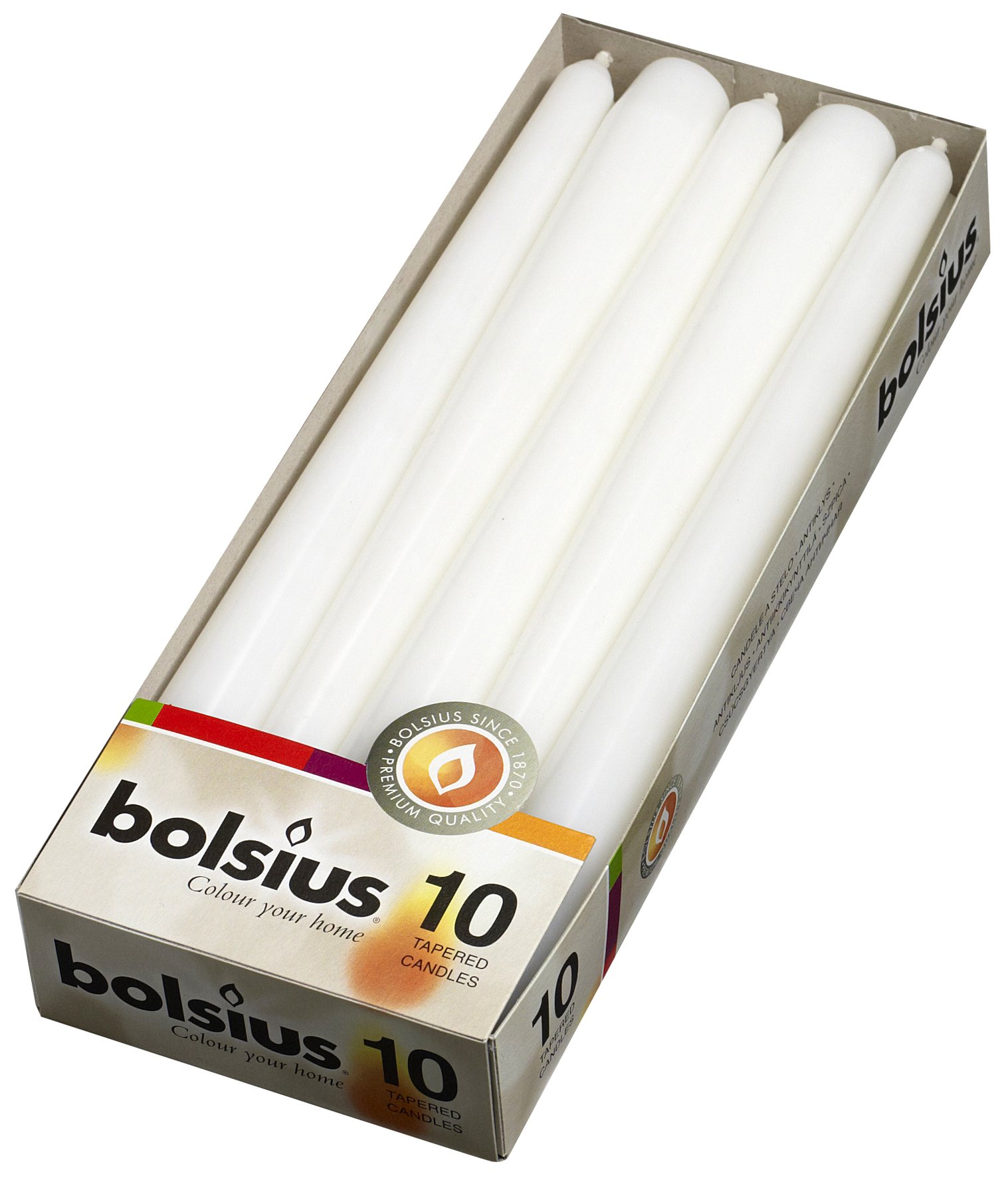 BOLSIUS Long Household White Taper Candles - 10-inch Unscented Premium Quality Wax - 7.5 Hour Dripless Candles Bulk Pack of 10 for Home Decor, Wedding, Parties and Special Occasions