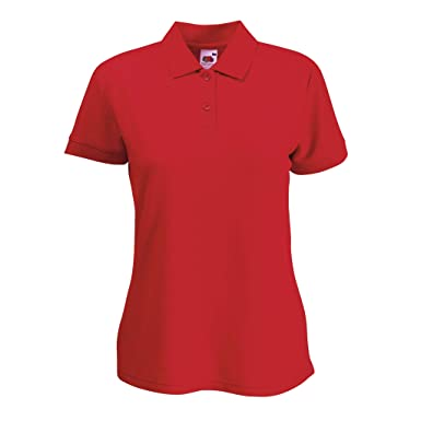 Fruit of the Loom-Ladies 63-212-0 Polo Blended Fabric Rojo rojo ...