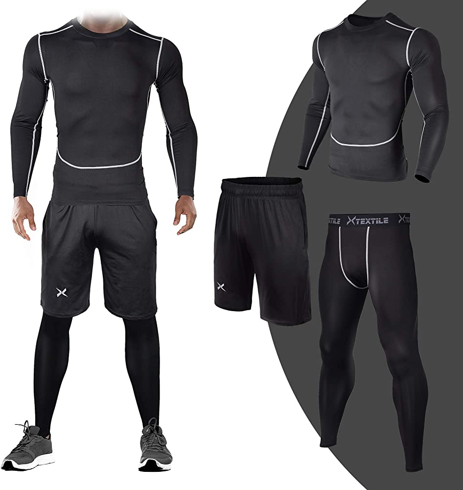 da7ed6e1f746 3 Pcs Men's Workout Clothes Set with Compression Pants, Long Sleeve Shirts  and Loose Fitting Shorts