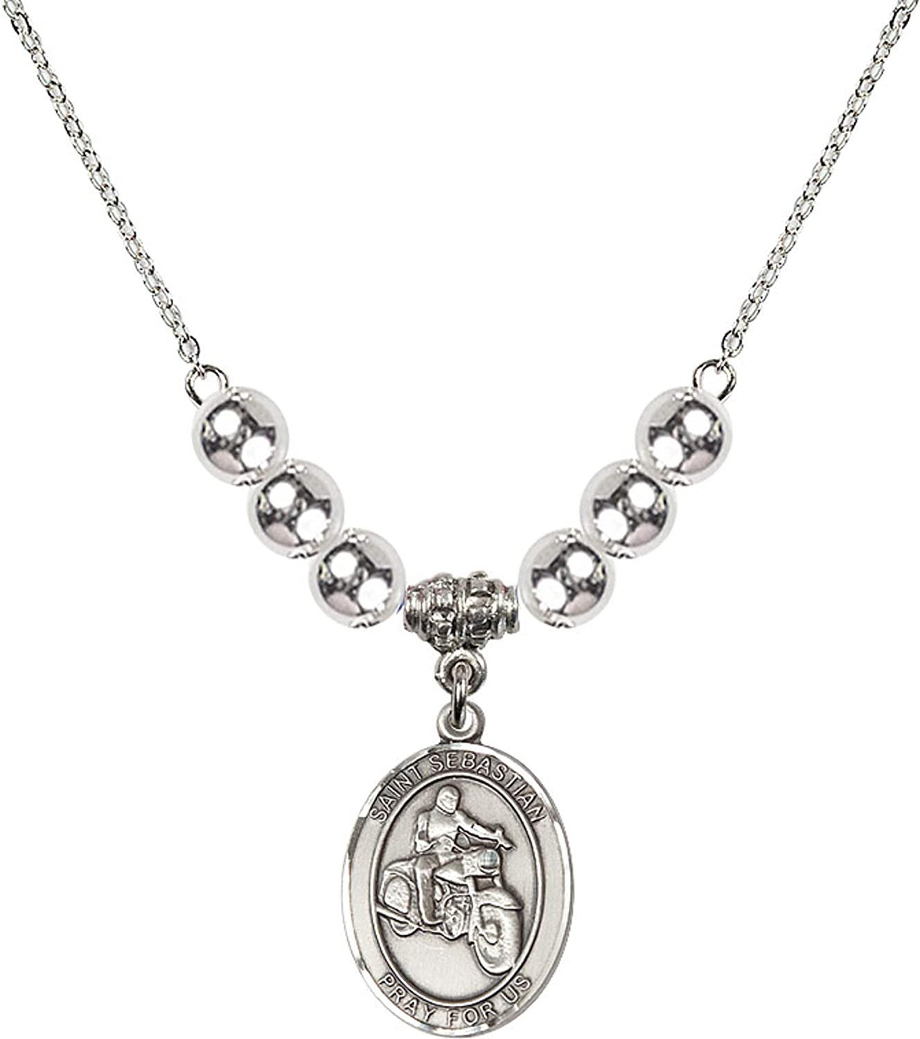 Bonyak Jewelry 18 Inch Rhodium Plated Necklace w// 6mm Sterling Silver Beads and Saint Sebastian//Motorcycle Charm