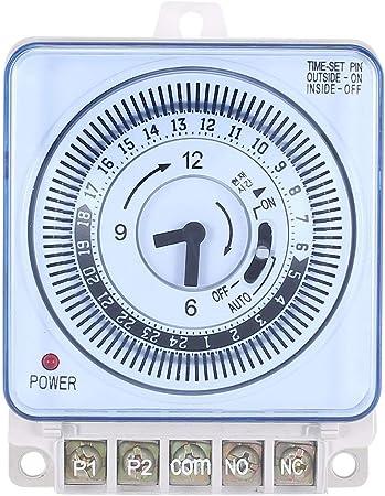 Tellaboull for Temporizzatore Meccanico 250V Contatore orario Promemoria 15min 24h Conto alla rovescia per Cucina Regolatore di Risparmio energetico Interruttore di temporizzazione Industriale