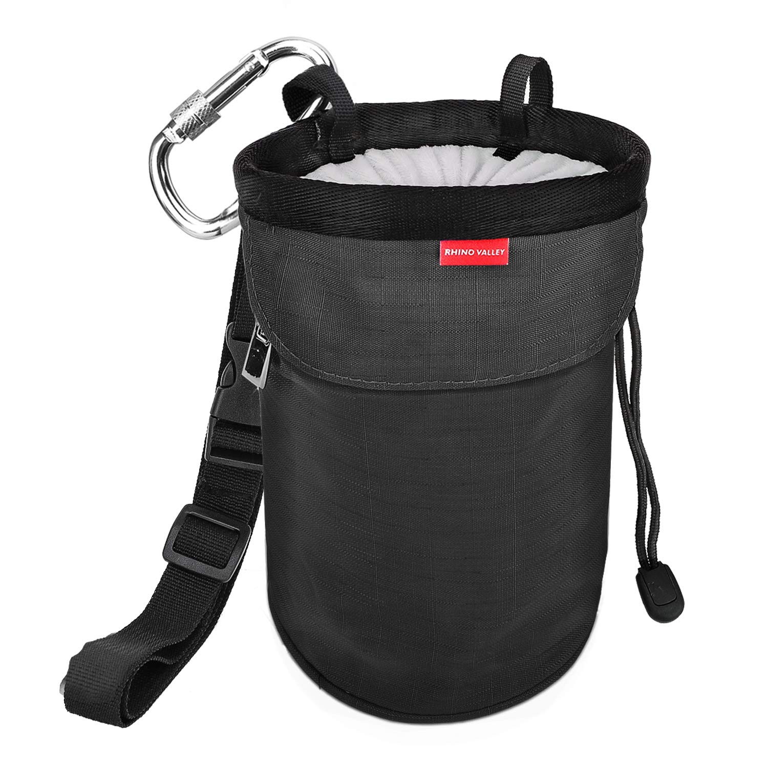 Gymnastics Weight Lifting /& More Cross Fit Carabiner Clip and Zippered Pockets for Climbing No Leak Drawstring Closure Bag with Adjustable Belt Rhino Valley Climbing Chalk Bag