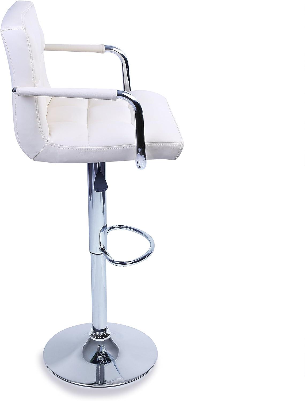 Sgabello Lounge con Schienale e braccioli Cromato TRESKO 2 x Sgabelli da Bar e da Cucina la Regolazione in Altezza dei sedili 62,0-82,5cm Marrone 8 Colori Diversi Rotazione Libera a 360/°