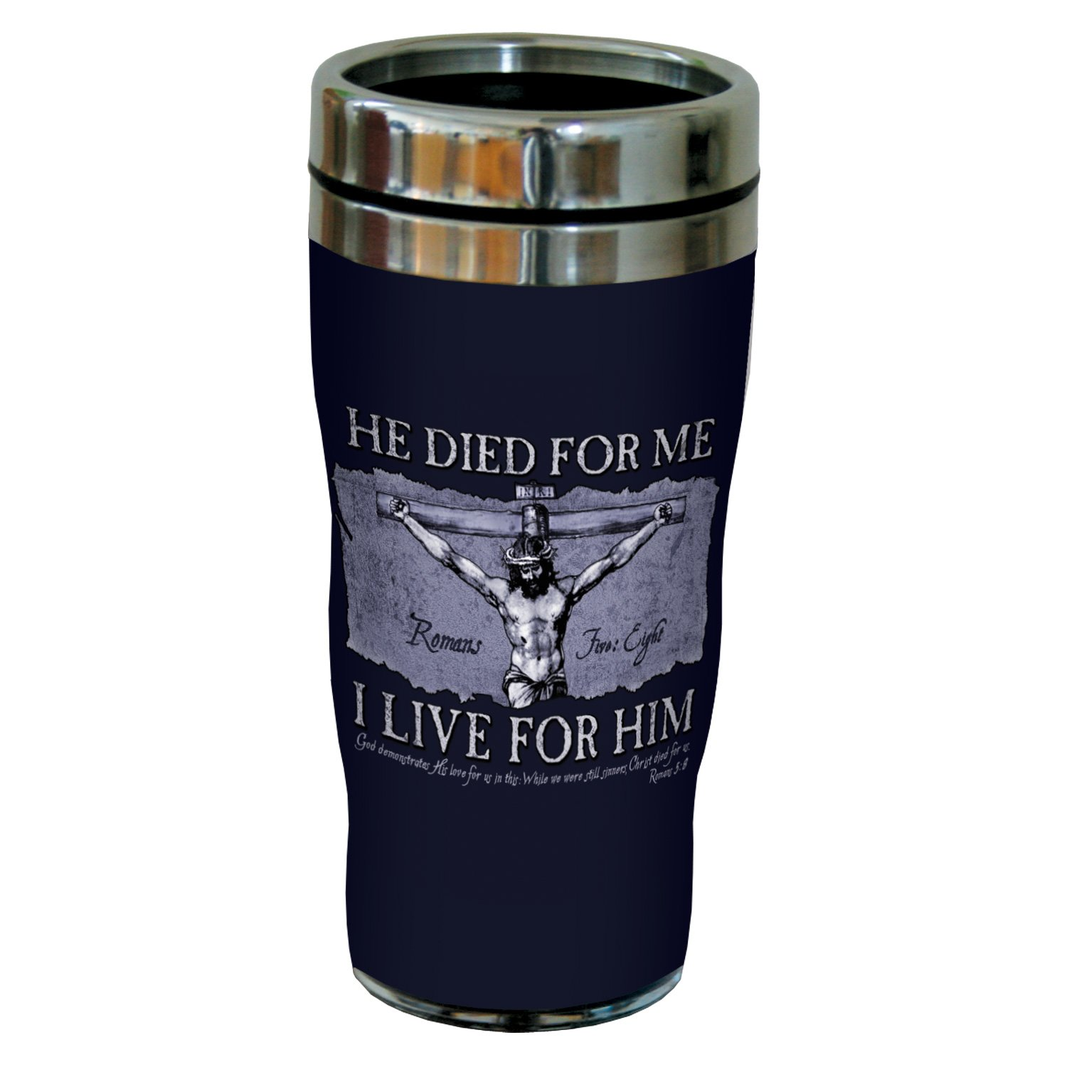 Tree-Free Greetings sg24258 He Died for Me: Romans 5:8 Sip 'N Go Stainless Steel Lined Travel Tumbler, 16-Ounce by Tree-Free Greetings
