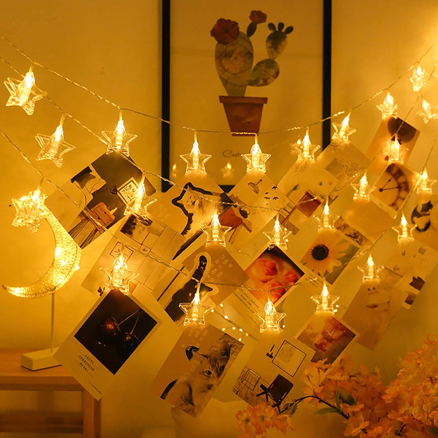 Funpeny Photo Clips String Lights Cards Warm White 20LED Star Christmas Indoor Wall Lights Girls Bedroom Decoration with Clips for Hanging Pictures Artwork