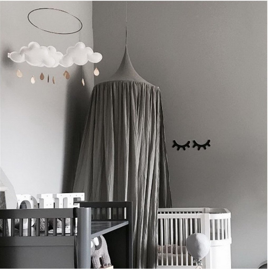 ACMED Emosquito Net Premium Bed Hanging Canopy Fit Crib - Grey