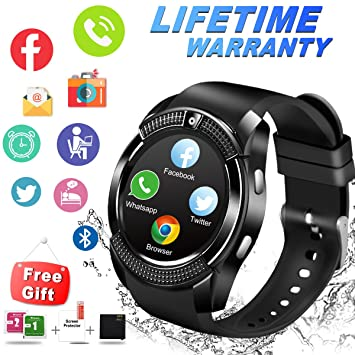 Smart Watch, Impermeable Reloj Inteligente con Cámara Whatsapp Bluetooth Smartwatch Táctil Teléfono Reloj Sport Fitness Tracker Pulsera Inteligente ...