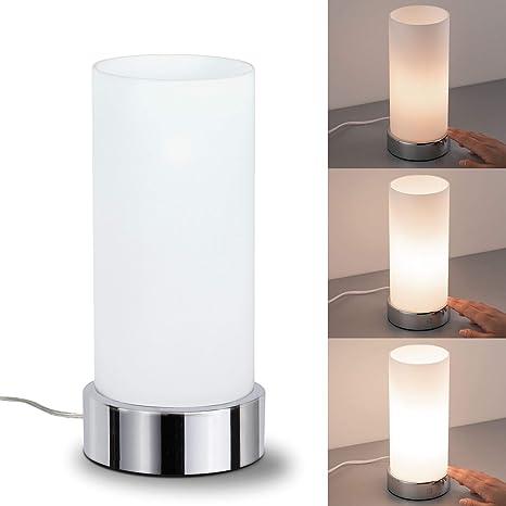 Paulmann 77029 Pinja-Lámpara de Mesa de 3 encendidos táctil E14, 0 W, Cromo, Blanco, 11 x 11 x 24 cm