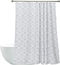 Aimjerry Cube Mildew Resistant Fabric Shower Curtain White For Bathroom Water Repellent 72