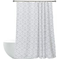 White Shower Curtain Fabirc Bathroom Curtain Simple Design 72 x 72 Inch