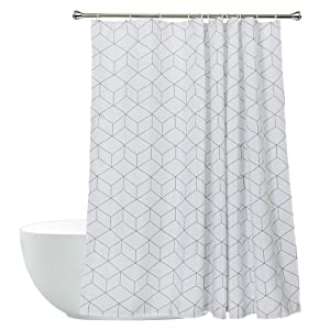Aimjerry Cube Mildew Resistant Fabric Shower Curtain White for Bathroom, Water-Repellent 72-inch x 72-inch