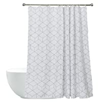 White Shower Curtain Fabirc Bathroom Curtain Simple Design 72 x 72 Inch
