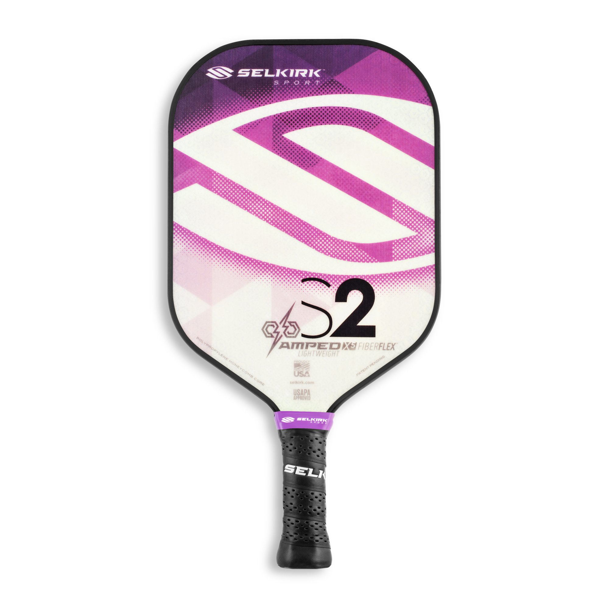 Selkirk Amped Pickleball Paddle - USAPA Approved - X5 Polypropylene Core - FiberFlex Fiberglass Face - 5 Sizes: Epic, S2, Omni, Maxima, and INVIKTA (S2 Lightweight - Amethyst Purple) by Selkirk Sport