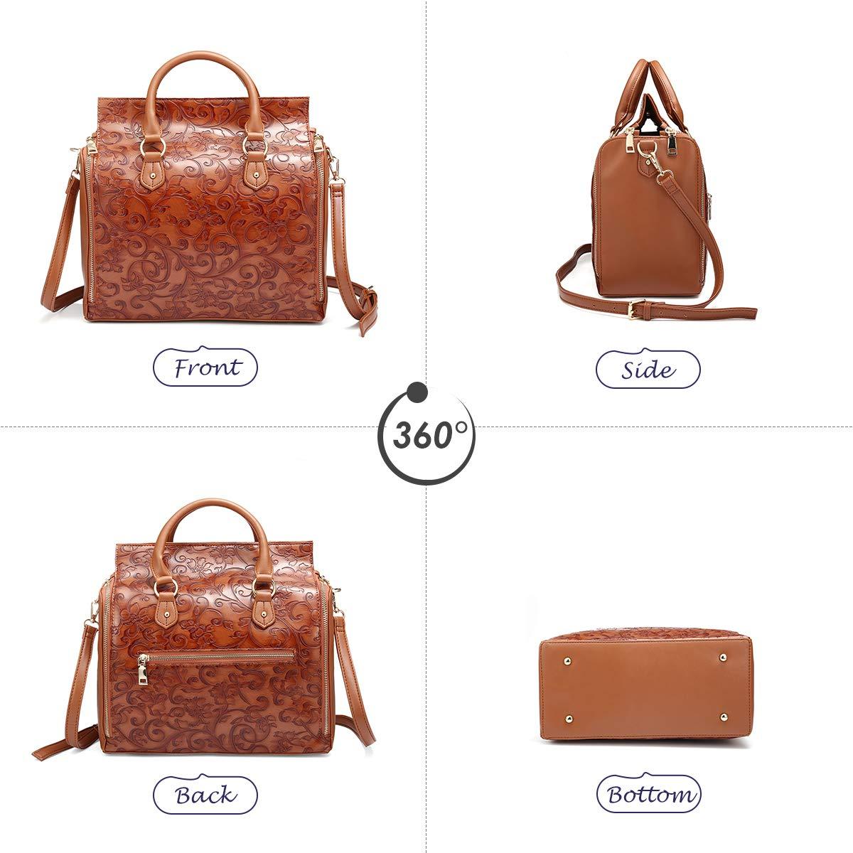 83e934c85a0a Brenice Travel Makeup Bag, Embossed Flower Handbags Vintage Large Capacity  Leather Bohemian...