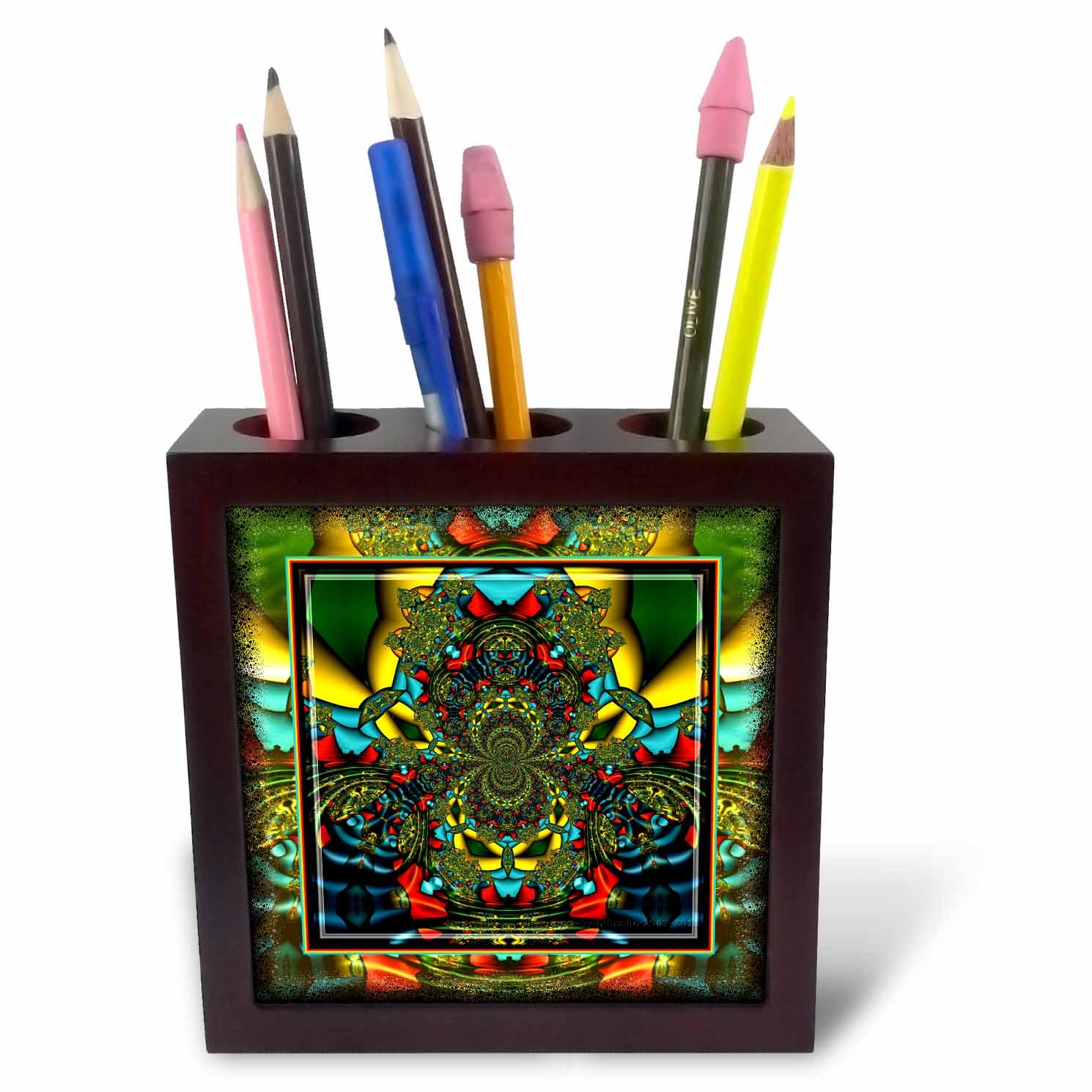 3dRose ph_24841_1 Psychedellica 2 Hippie Flowerpower Retro Fractal Psychedellic Red Yellow Blue Retro Oriental India-Tile Pen Holder, 5-Inch