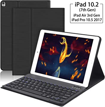 Lapogy iPad 10.2 2019 Keyboard Case,7th Generation,Include Detachable Wireless Bluetooth Keyboard with Magnetically Auto Sleep//Wake Leather Tablet Cover,Lightweight Stand Folio Case-Black