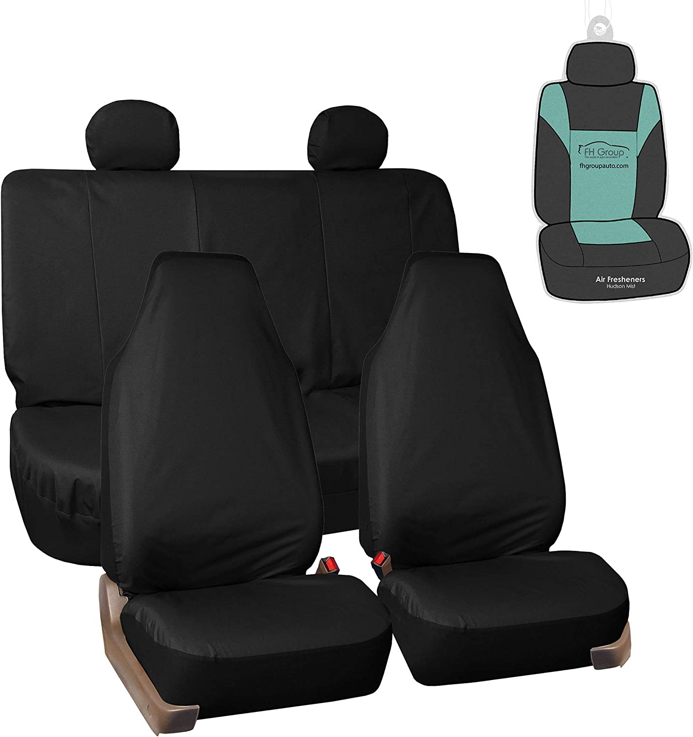 FH Group FB113114 Rugged Oxford Seat Covers (Black) Full Set with Gift - Universal Fit for Trucks, SUVs, and Vans