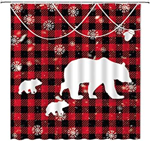 Plaid Bear Shower Curtain Vintage Red Black Buffalo Plaid Mom and Baby Bear Snowflake Rustic Farmhouse Winter Holiday Home Bathroom Decor Fabric Curtain with 12 Hooks,71x71 Inch,White Red Black