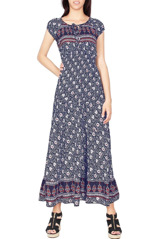 2LUV Women's Printed Sleeveless Keyhole Cutout Neckline Long Summer Maxi Dress