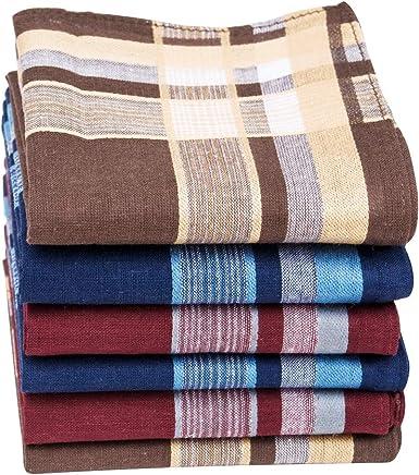 HOULIFE - Pañuelos para hombre de algodón puro, 40 x 40 cm, 3 colores, para uso diario, 6/12 unidades 6 unidades. 40x40cm: Amazon.es: Ropa y accesorios