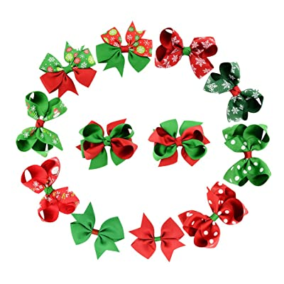 Christmas Hair Bows For Toddlers.Oulii Christmas Hair Bows Ribbon Hairbow Alligator Clips For