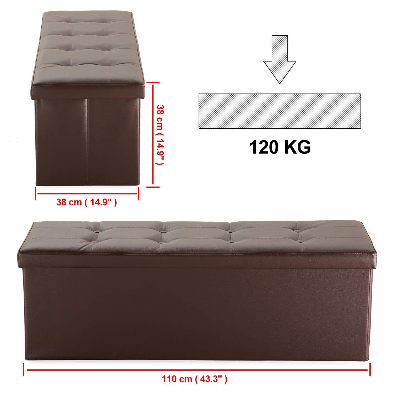 XMAF Tabouret Pouf Coffre Bo/îte Si/ège de Rangement Pliable Gagner de lespace Clair 110 x 38 x 38 cm Cuir Artificiel Beige XMF010001-1