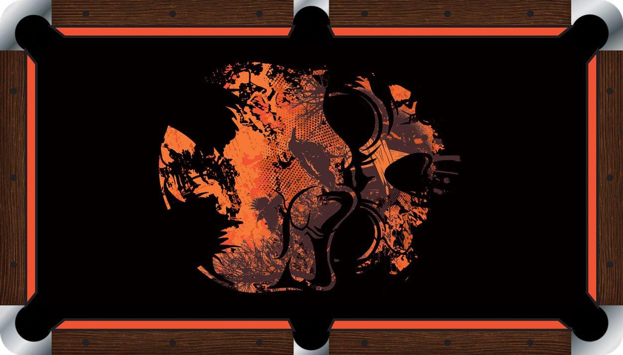 プールテーブルFeltビリヤードCloth – Vivid – Grungeスカル B01E5Z388G  9 foot
