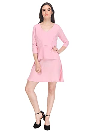 AIDA Women s Pink Georgette Skater Dress  Amazon.in  Clothing   Accessories 4b4215deb