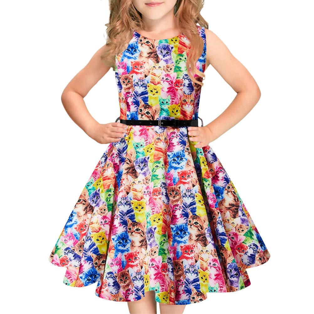 Idgreatim Girls 50s Vintage Swing Derss Floral Print Pleated Sleeveless Party Dresses Belt 6-13 Years