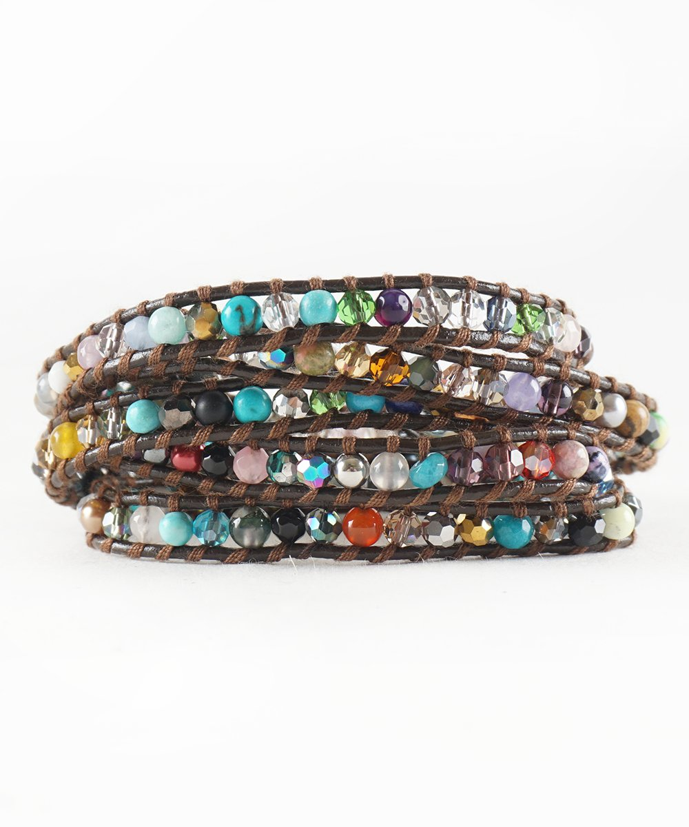 The Cheerful in Colors - 34'' Multicolor Beads Brown Leather Wrap Bracelet (Light Brown String)