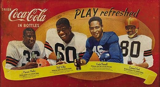 "1950/'s African-American Football Stars Coca-C Ad Replica 19 x 10.5/"" Photo Print"