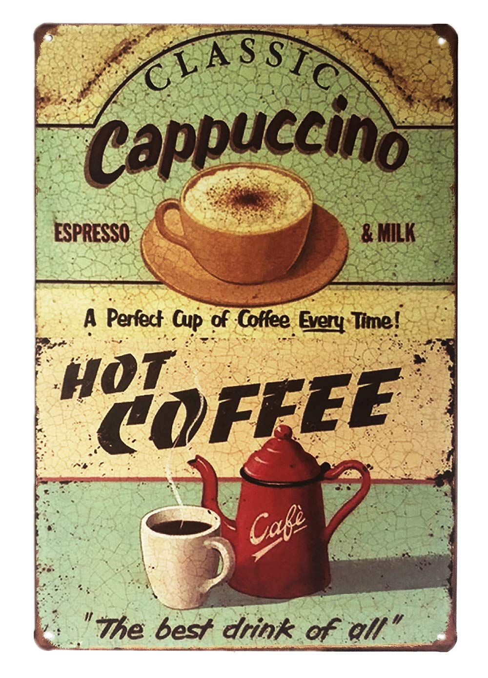 UNIQUELOVER Coffee Signs, Bar Sign Decor, Metal Wall Art Posters Classic Cappuccino Hot Coffee Vintage Retro Wall Plaque for Home Kitchen Bedroom Bar Pub Wall Decoration 12 X 8 Inches