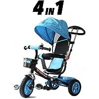 Triciclo para niños 4 en 1 – azul y negro – Push a lo largo del pedal niños Tricycle CE aprobado